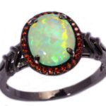 green fire opal black gold ring