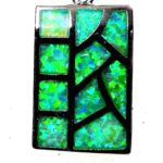 green opal rectangle silver pendant necklace