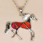 orange opal horse pendant
