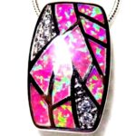 pink opal white topaz silver pendant necklace