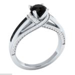 round cut black sapphire ring
